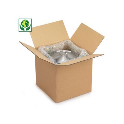 Caisse carton à base carrée brune double cannelure##Vierkante en kubusvormige Amerikaanse kartonnen dozen in bruin dubbelgolfkarton