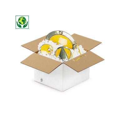 Caisse carton à base carrée blanche simple cannelure##Vierkante en kubusvormige Amerikaanse kartonnen dozen in wit enkelgolfkarton
