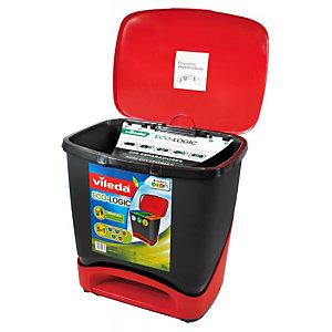 Vileda Eco-Logic, Cubo de basura, tapa con pedal, polipropileno, 39 l, rojo y negro