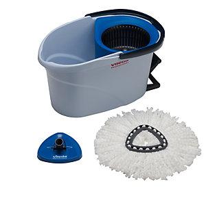 VILEDA Kit completo UltraSpin Mini di pulizia - secchio con strizzatore ruotante + telaio + mop microfibra - Vileda
