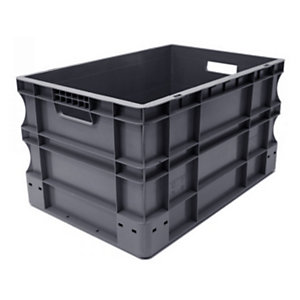 VISO Bac de rangement norme Europe,  gerbable 55 litres - polypropylène gris anthracite
