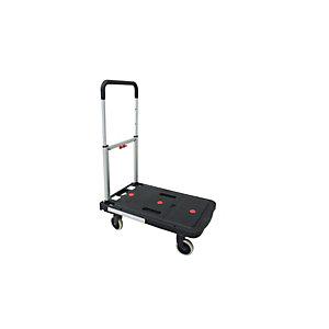 VISO Chariot pliant pour support de charges jusqu'à 130 kg, plateau en polypropylène - Noir