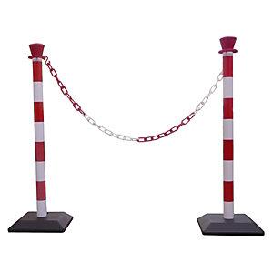 VISO Kit 2 poteaux de signalisation, base lestée + 1 chaîne de 2 m- Rouge et blanc