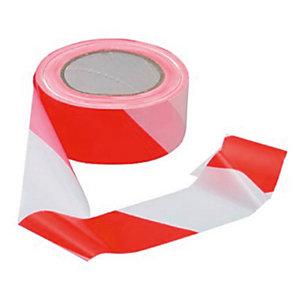 VISO Ruban de signalisation, 100 m x 5 cm - Rouge et blanc