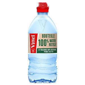 Vittel Bouchon sport - Eau minérale naturelle plate 75 cl (Lot de 15 bouteilles)
