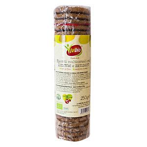 VIVIBIO Biscotti multicereali con limone e zenzero Bio, 250 g