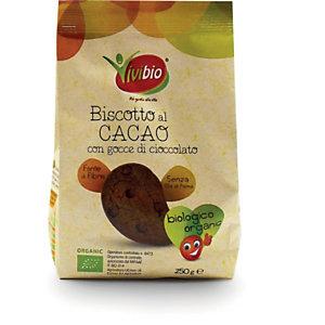 VIVIBIO Biscotto al cacao con gocce di cioccolato Bio, 250 g