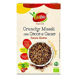 VIVIBIO Crunchy Muesli Bio Avena con Cocco e Cacao, Senza glutine, 250 g