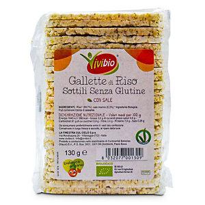 VIVIBIO Gallette di riso sottili Bio con sale, Senza glutine, 130 g