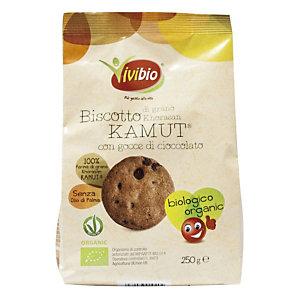 VIVIBIO Linea Biologica Biscotto grano Khorosan Kamut® con gocce cioccolato, 250 gr