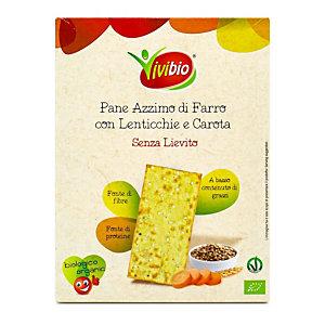 VIVIBIO Pane Azzimo di Farro con Lenticchie e Carota Bio, Senza lievito, 200 g