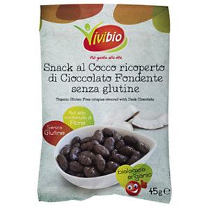 VIVIBIO Snack al Cocco ricoperto di Cioccolato Fondente Bio, Senza glutine, 45 g