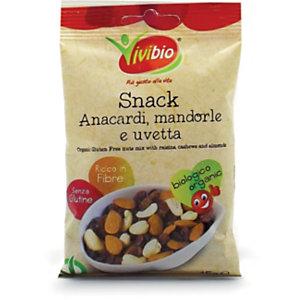 VIVIBIO Snack Anacardi, Mandorle & Uvetta Bio, Senza glutine, 45 g