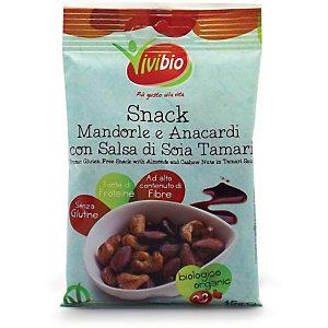 VIVIBIO Snack Mandorle e Anacardi con Salsa di Soia Tamari Bio, Senza glutine, 45 g