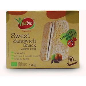 VIVIBIO Sweet Sandwich Snack Gallette di Riso con cuore di cioccolato e nocciola Bio, Senza glutine, 20 g (confezione 6 pezzi)