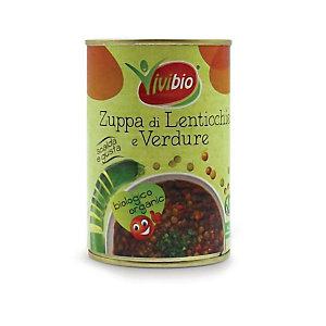VIVIBIO Zuppa di Lenticchie e Verdure Bio, Latta da 400 g