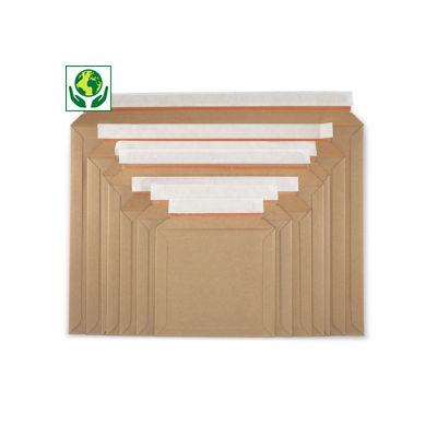 Vlakkartonnen envelop met zelfklevende sluiting - opening lange zijde