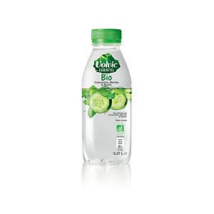 Volvic Essentiel Bio, eau plate aromatisée saveur Concombre, menthe et basilic, sans sucre - Bouteille de 37 cl