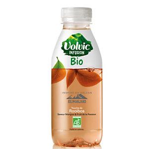 Volvic Infusion Bio Rooibos, Eau plate aromatisée Mangue et Fruit de la Passion - bouteille 37 cl