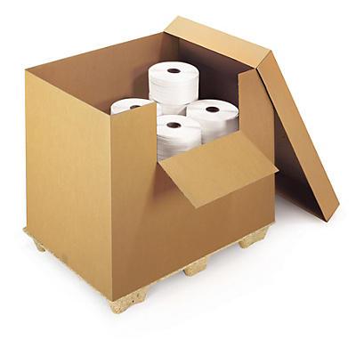 Voordeelpak van 6 houtvezelpalletten en 6 containers met deksel