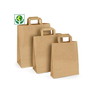 Sac kraft à poignées plates, 100 % recyclé##Voordelige kraftpapieren draagtas met platte oren