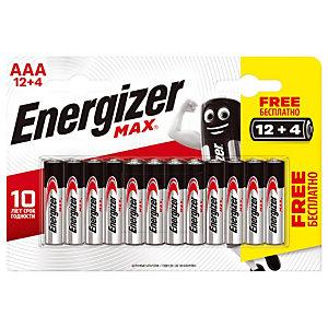 Voordelige packs van alkaline batterijen Energizer  Max LR03-type AAA 12 + 4 GRATIS
