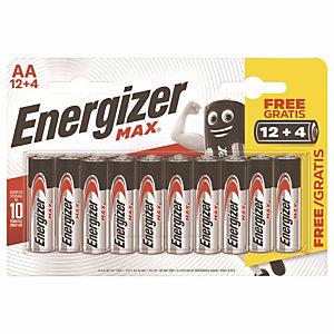 Voordelige packs van alkaline batterijen Energizer  Max LR06-type AA 12 + 4 GRATIS