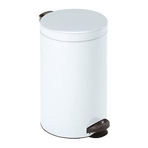 Vuilnisbak met pedaal in wit metaal 20 L
