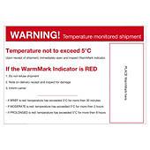 Waarschuwingslabel voor temperatuurindicator WARM