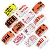Waarschuwingstape, wit of gekleurd PVC 35 micron, met standaard waarschuwingsboodschappen