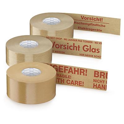 Warn-Nassklebebänder mit Standardaufdruck