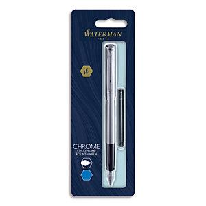 WATERMAN Blister stylo plume GRADUATE chromé + 1 cartouche longue Bleue