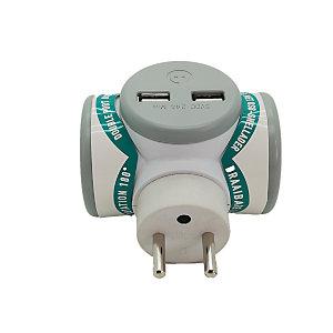 WATT & CO ECONNECTONS-NOUS Biplite - Chargeur multiprise USB rotatif - Blanc