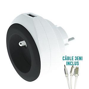WATT & CO ECONNECTONS-NOUS Chargeur universel mural USB pour smartphone et tablette avec câble 3 en 1 rétractable - Noir