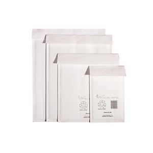 WAVE BAG Busta imbottita ecologica, Riciclabile, Chiusura biadesiva, 35 x 47 cm, Bianco (confezione 100 pezzi)