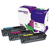 Wecare 305A, CE411A, Tóner remanufacturado, compatible con HP, Cian, Magenta, Amarillo, Pack de 3