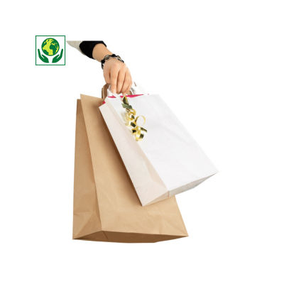 Weiße und braune Papier-Tragetaschen mit Papierhenkel RAJASHOP