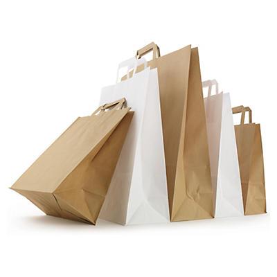 Weiße und braune Papier-Tragetaschen mit Papierhenkel