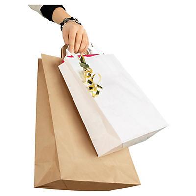 Sac kraft blanc à poignées plates##Weisse und braune Papier-Tragetaschen mit Papierhenkeln RAJA
