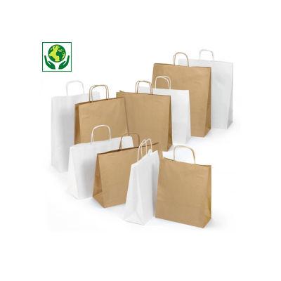 Weiße und braune Papier-Tragetaschen mit Papierkordel RAJASHOP
