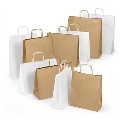 Weiße und braune Papier-Tragetaschen mit Papierkordel