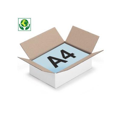 Weiße Wellpapp-Faltkartons RAJABOX, 1-wellig, DIN A4 Format