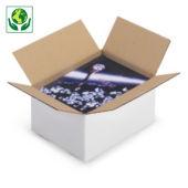 Weiße Wellpapp-Faltkartons RAJABOX, 1-wellig, DIN A6 Format