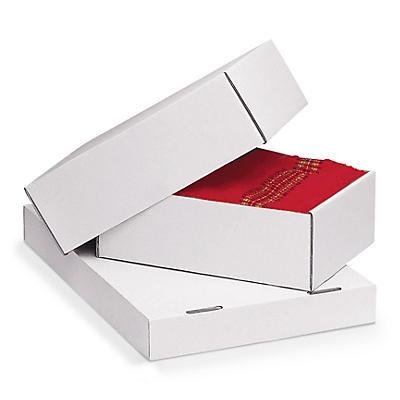 Caisse carton blanche télescopique renforcée format DIN A4##Weisser, verstärkter Stülpdeckelkarton, 1-wellig, DIN A4