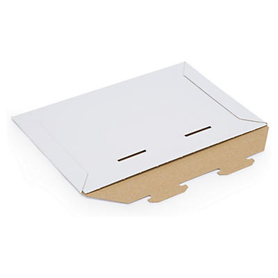 White cardboard envelopes with locking flaps