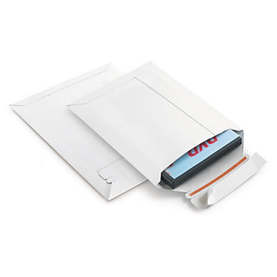 White cardboard envelopes with short edge opening