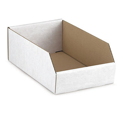 White cardboard storage bins