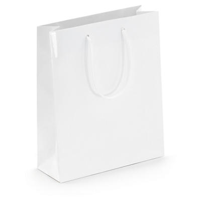 White gloss laminated gift bags