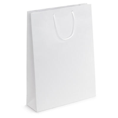 White matt laminated gift custom printed bags
