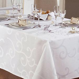 Wit tafelkleed in stof Madigan, rond diam. 1,70 m
